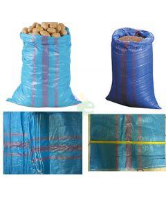 100 sacco sacchi sacconi per noci nocciole castagne spazzatura calcinacci agricoltura giardinaggio in polietilene cm 70 x 120 blu