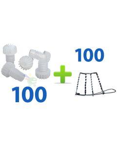100 tappi tappo in plastica alettato per bottiglia bottiglie spumante vino 100 gabbia gabbie gabbiette zincate