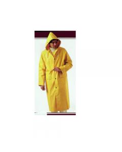 Abbigliamento da lavoro impermeabile antistrappo a cappotto con cappuccio colore giallo in pvc e fori d'aerazione