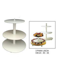 Alzata alzate lisce per torta a 3 piani diametro cm 34 30 23 colore bianco