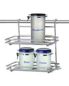 Artex Artik mensola rettangolare doppia per bagno e cucina in acciaio cromato per appendere su barra a parete