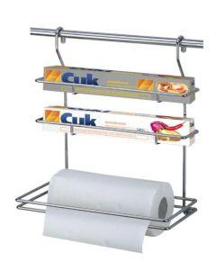 Artex Artik portarotolo portascottex porta film pellicola alluminio in acciaio cromato con ganci per appoggio su barra a parete