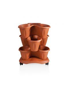 Bama Trifoglio 3 vasi da giardino componibili colore grigio verde terracotta con ruote