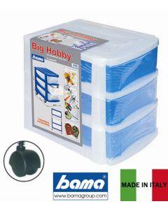 Bama Big Hobby cassettiera con 3 cassetti. Dimensioni cm 30 x 40 x h 35 con ruote piroettanti. Realizzata in materiale plastico.