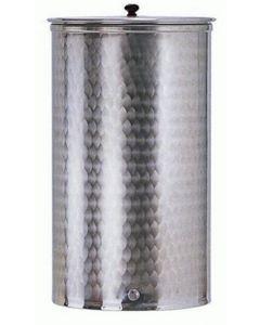 Belvivere contenitore per olio e vino con coperchio acciaio inox fiorettato saldato