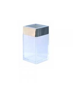 Bicchiere da bagno contenitore in plastica trasparente coperchio in acciaio cromato cm 6 x 6 x h 11