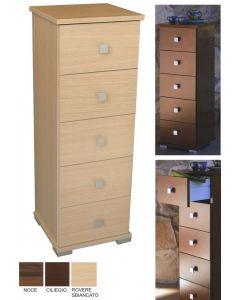 Cassettiera in legno. 5 cassetti. Dimensioni cm 31 x 33 x h 91. Disponibile in colore ciliegio, rover, noce.