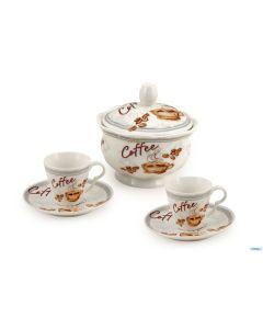 Set da caffè composto da zuccheriera, due tazzine, due piattini realizzati in porcellana decorata. Ideale per gli amanti della caffeina e come idea regalo natalizia o per altre occasioni e festività!