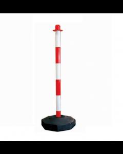 Colonnina (paletto) bicolore bianco / rosso per segnaletica e delimitazione con base ottagonale in plastica riempibile con acqua o sabbia. Altezza cm 90.