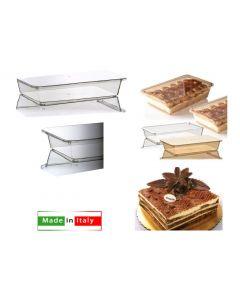 Contenitore scatola trasparente per tiramisù con coperchio capacità cc 2000 dimensioni cm 32 x 18 x 6,5 confezione 3 pezzi