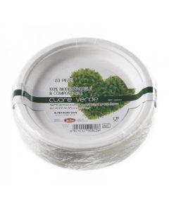 Confezione da 50 piattini tondi diametro 18 cm compostabili e biodegradabili