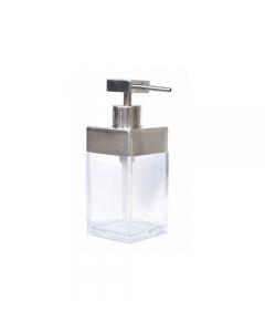Dispenser sapone da bagno contenitore in plastica trasparente dispenser in acciaio cromato cm 6 x 6 x h 16