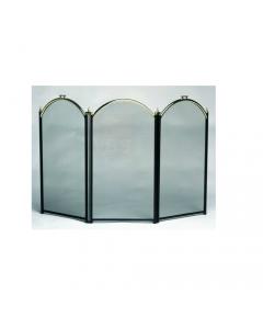 Dusty parascintille per camino cm 98 x h 61 a 3 ante ad arco rete e montanti verniciati neri archi e fregi oro lucido