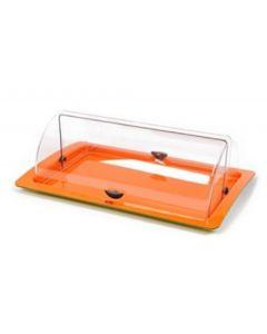 Espositore vetrina vetrinetta da bar per dolci cornetti pizzette panini colore verde - arancio dimensioni cm 54 x 35 x h 17
