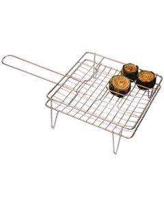 Filtex graticola per carciofi 16 posti in acciaio cromato con manico e piedini cm 27 x 27