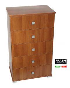 Frasm cassettiera in legno di noce 5 cassetti