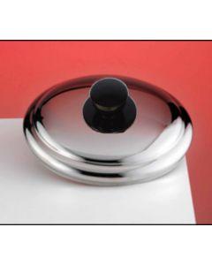 Giorinox coperchio bombato per pentola in acciaio inox con pomolo in plastica colore nero. Coperchio bobmato disponibile in diametro cm 22, cm 24, cm 26, 28.