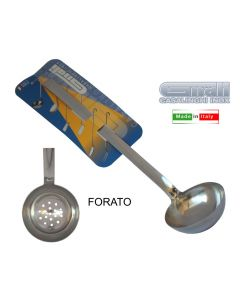 Gnali Eco mestolo in acciaio inox 18 10. Mestolo disponibile forato, di diametro cm 6 e di diametro cm 9.