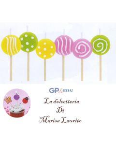 GP&me candeline lollypop per torte e dolci set 6 pezzi