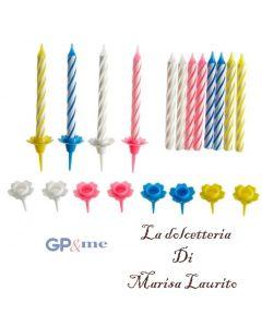 GP&me candeline per torta compleanno colorate set 24 pezzi