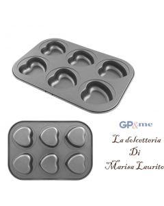 GP&me stampo per dolci antiaderente a forma di cuore 6 impronte