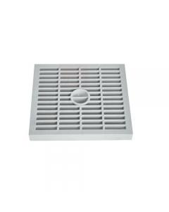 Griglia singola super quadrata per canalizzazione acqua in polipropilene. Dispone di maglia antitacco e rinforzi raggianti.