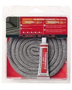 Guarnizione termica per stufe per alte temperature kit corda tricotex lunghezza 2,5 metri e adesivo thermofix