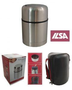 Ilsa portavivande termico con custodia in acciaio inox 18/10. Portavivande in capacità 0,5 litri 0,75 litri 1 litro.