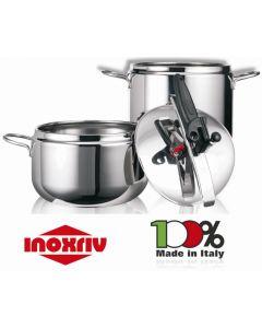 Inoxriv pentola a pressione sicura in acciaio inox. Pentola a pressione in capacità 3,5 litri 5 litri 7 litri.