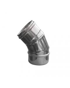 ISO9001 gomito a 45 gradi in acciaio inox per stufe e caminetti a legna conforme alle norme EN 1856-1 / 1856-2