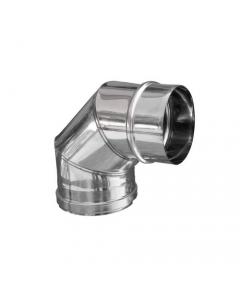 ISO9001 gomito a 90 gradi in acciaio inox per stufe e caminetti a legna conforme ai requisti delle norme EN 1856-1 / 1856-2
