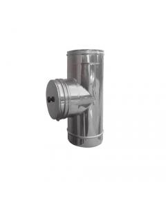 ISO9001 tubo a T in acciaio inox con tappo ispezione per stufe e caminetti a legna conforme alle norme EN 1856-1 / 1856-2