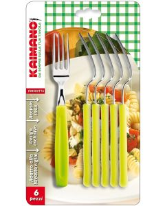 Kaimano Dinamik set di 6 forchette in acciaio inossidabile e manico in plastica verde