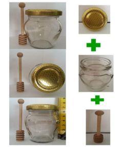 Kit composto da un vasetto orcio con tappo alveare e dosamiele