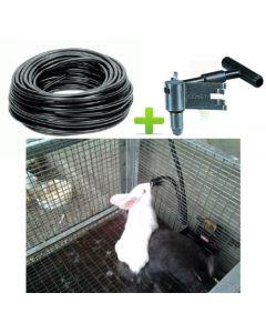 kit 20 abbeveratoi abbeveratoio a goccia per coniglio conigli - 20 raccordi t tee in plastica - 100 metri di tubo flessibile