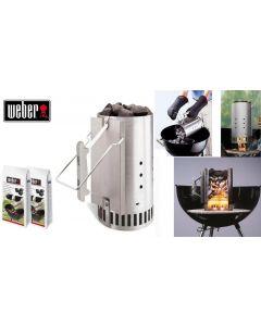 kit ciminiera di accensione barbecue weber + 2 kg di bricchetti di ravviva brace