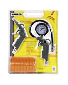 Kit per aria compressa composto da 3 pezzi: pistola per soffiaggio, pistola per gonfiaggio con manometro, tubo a spirale di lunghezza 5 metri. Codice EAN 8000071936378 .