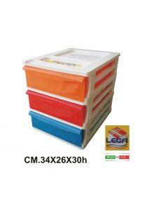 Lega cassettiera 3 cassetti bassi cm 34 x 26 x h 30