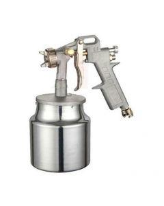 Maurer aerografo con serbatoio inferiore capacità 1 litro. Ideale per verniciatura a spruzzo. Serbatoio in alluminio. Ugelli di diametri mm 1,2 - 1,5 - 1,8. Codice EAN 8000071940146 .