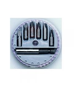 Maurer assortimento di bits 7 pezzi con dispenser. In acciaio carbonio. 6 bits + 1 portainserti. 12 confezioni.