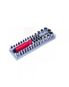 """Maurer cacciavite magnetico con 6 bits in astuccio in plastica. Lama in acciaio al cromo vanadio. Attacco da 1/4"""". Composto da 27 bits, 10 bussole, 1 cacciavite."""