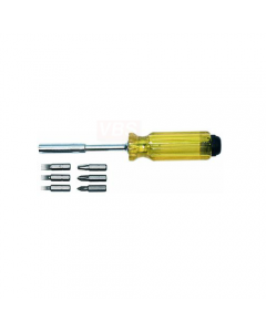 Maurer cacciavite magnetico con 6 bits, lama in acciaio cromo vanadio, manico con serbatoio portainserti. 10 pezzi.