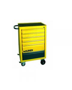 Maurer carrello porta utensili e attrezzi a 6 cassetti. In acciaio verniciato piano. Con tappetino in gomma, ruote e maniglia da trasporto. Dimensioni mm 710 x 480 x h 900.