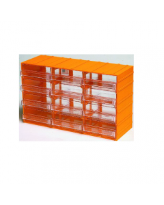 Maurer cassettiera porta minuterie in polipropilene. Con 12 cassetti trasparenti. Dimensioni esterne mm 382 x 148 x h 230. Dimensioni cassetto mm 122 x 145 x 55.