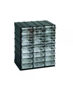 Maurer cassettiera porta minuterie in polistirolo antiurto. Incastrabile sui 4 lati. Cassetti trasparenti. Dimensioni cassetiera cm 19,2 x 14,8 x h 24. Munita di 24 cassetti. Dimensioni cassetto mm 59 x 145 x 26.