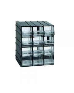 Maurer cassettiera porta minuterie in polistirolo antiurto. Incastrabile sui 4 lati. Cassetti trasparenti. Dimensioni cassettiera cm 19,2 x 14,8 x h 23. 12 cassetti. Dimensione cassetto mm 59 x 145 x 55.