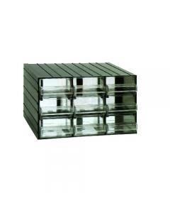 Maurer cassettiera porta minuterie in polistirolo antiurto. Incastrabile sui 4 lati. Cassetti trasparenti. Dimensioni cassettiera cm 38,2 x 29 x h 23. Con 9 cassetti. Dimensioni cassetto mm 122 x 185 x 73.