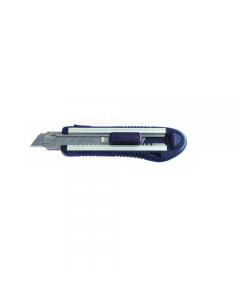 Maurer coltello lama a spezzare in alluminio mm 18 SK5 con corpo in alluminio. Impugnatura con rivestimento in gomma. Guida in metallo. Rotella blocca lama. Fornito di 5 lame.