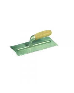 Maurer frattone in acciaio dentato sinistro con manico in legno dimensioni mm 280 x 120