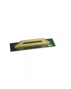 Maurer frattone rettangolare in acciaio dentato mm 10 x 10 con manico in legno tipo tedesco dimensioni mm 480 x 140
